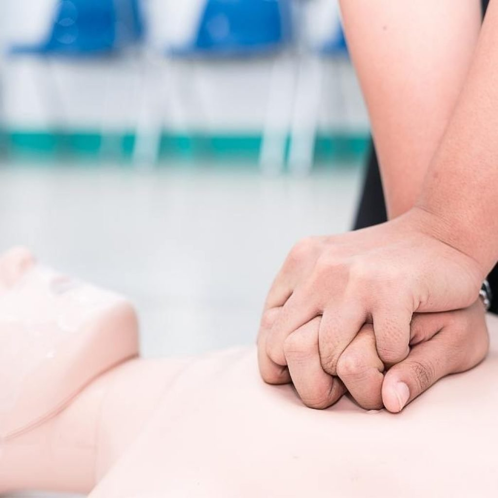 Image showing chest compressions, CPR, BLS training